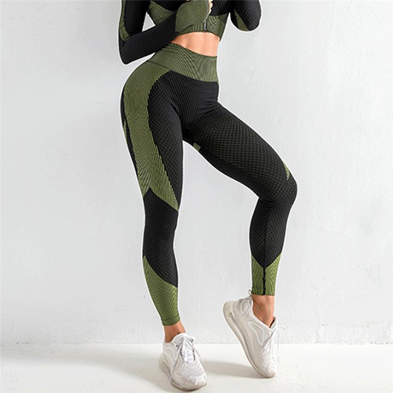 Yoga Outfits Сексуальный тренажерный зал Леггинсы Бесшовные брюки Женщины Спортивная одежда Фитнес Спорт Высокая талия Спортивная Тренировка Одежда