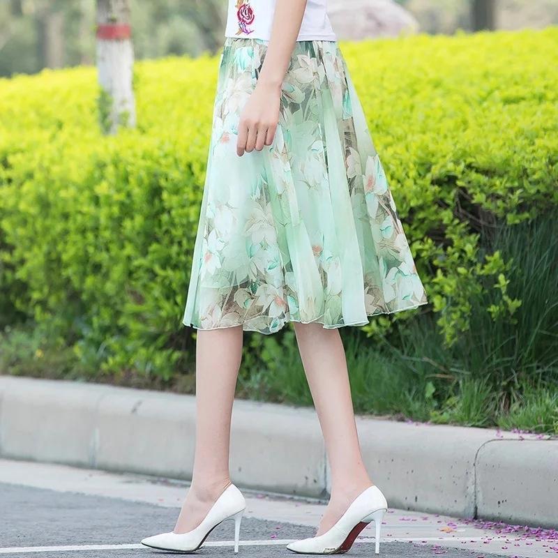 verão das mulheres Chiffon A- LINHA s Chiffon saias linha de vestido de comprimento médio A- floral saia plissada 2020 nova fadas impresso grande saia swing 9XIru 9