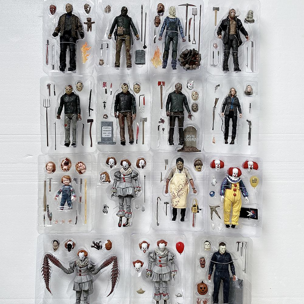 NECA Action Figure The 13th Friday Jason Freddy Krueger Leatherface Chainsaw John Michael Myers IT Joker Pennywise Action Figure LJ200811