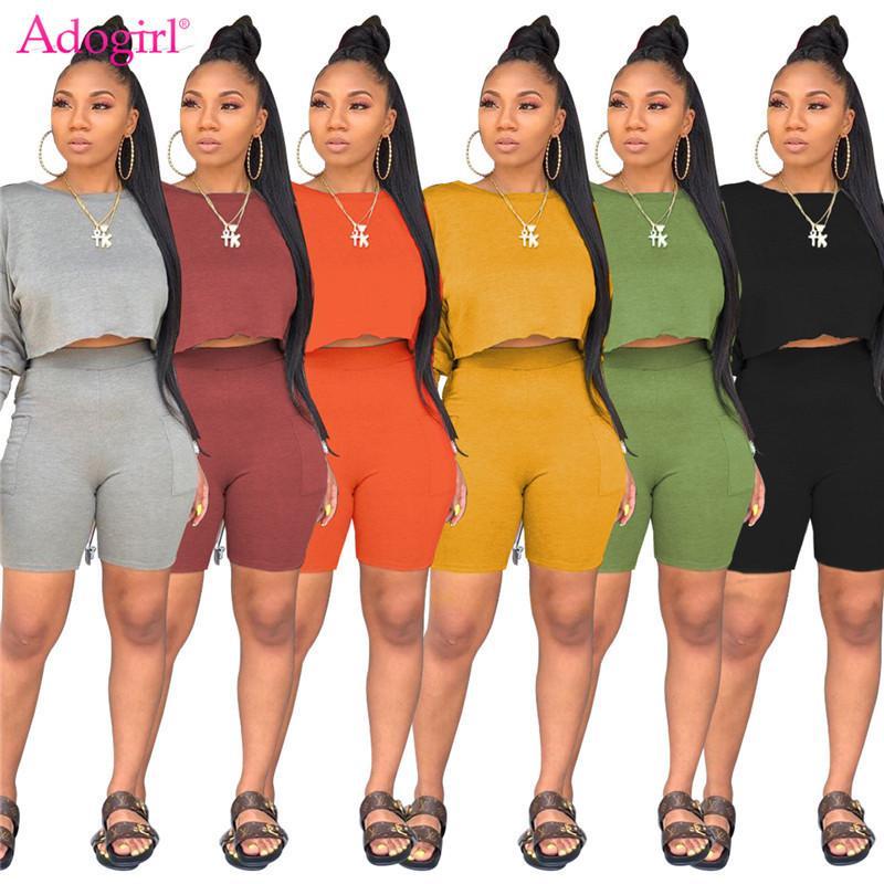 Adogirl femmes Deux solides pièces Ensemble Survêtement O manches longues T-shirt Crop Top poches Shorts Mode Costume sportif Tenues T200813