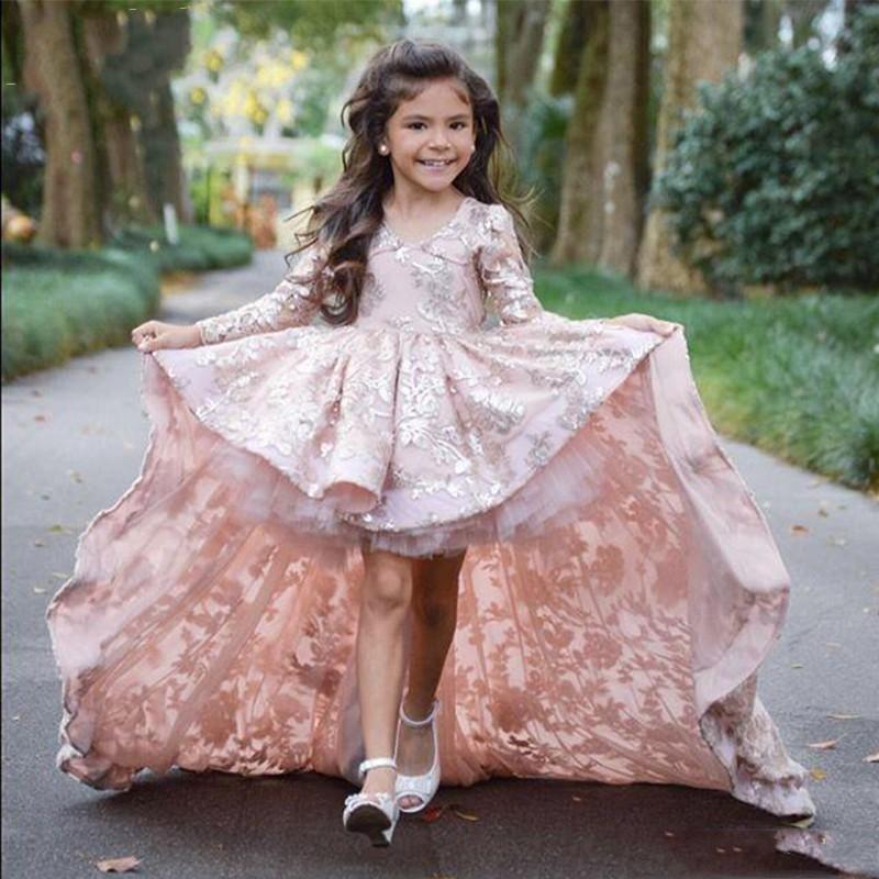 Sweep Поезд Дети Пром платья Розовый High Low с длинным рукавом платья девушки цветка для венчания шнурка Аппликация Ruffles девушки Pageant Gowns