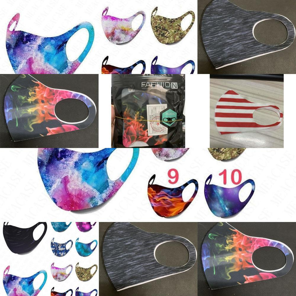 Flag Face Summer Tie-Dye Camouflage Printed Mask Adult Breathable Dustproof Protective Mas VT2F 0L1Z