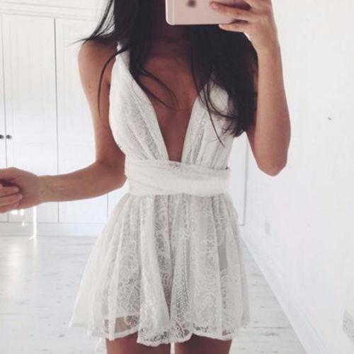 Nueva moda caliente sexy para mujer vestido corto fiesta de noche fiesta de verano Boho Boho vacaciones sin mangas vestidos de encaje