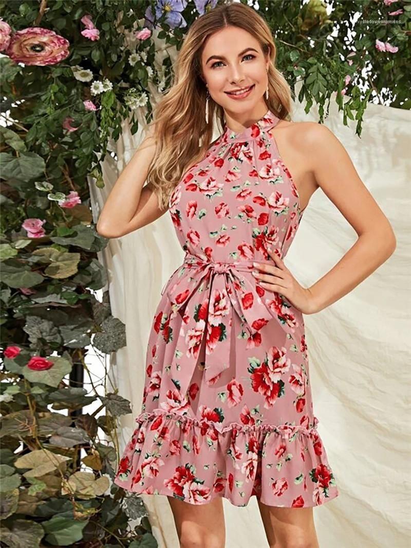 Moda Sashes Vestidos Natural Color Casual mangas Dresss Mulheres Roupa Flora Print Designer Womens Vestidos Halter