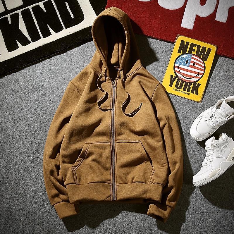 q8h6o Top top hoodie hommes fermeture à glissière manteau de style sport de couleur unie coréenne lâche manteau sweat à capuche en laine polaire