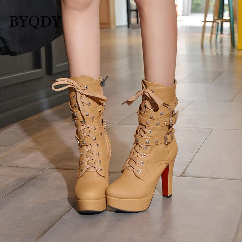 BYQDY Seksi Aşırı Yüksek Topuklar Boots Kadınlar Platformu Motosiklet Bilek Boots Lace Up Perçinler Punk Ayakkabı Toka sapanlar Büyük Boy 48 CX200822