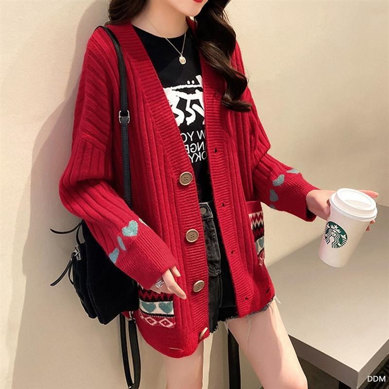 3rxxl zkTf1 2020 ранней осень новых женщины этнического контрастного стиля Национальный стиль пальто Корейского свободный длинный рукав похудение кардиган пальто свитер с