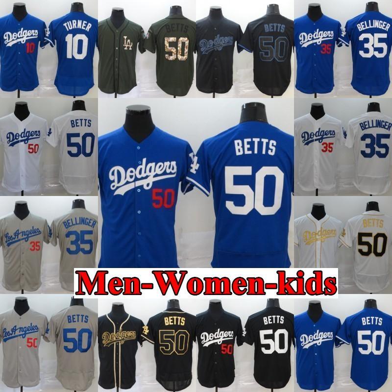 2020 남성 여성 아이 다저 저지 게임 남성 35 코디 Bellinger 50 무키 베츠 야구 유니폼 한 stiched 이름 Ans By의 수에서 증권