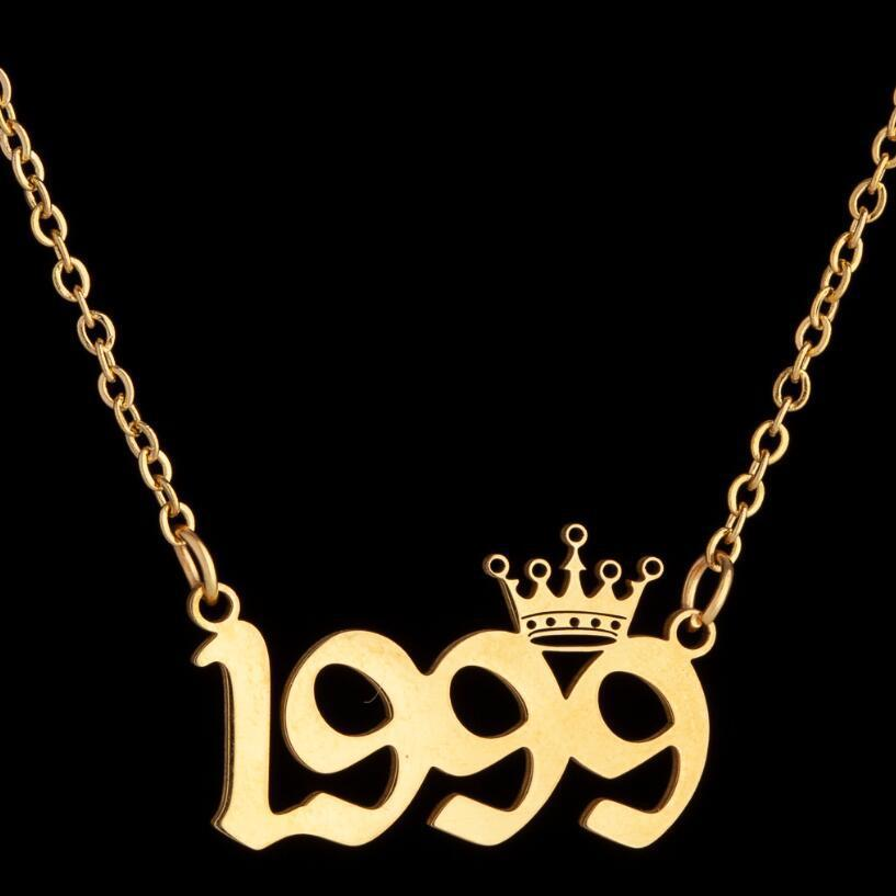 Stainless Steel Crown Birth Year Number Necklaces Custom Name Initial Necklace Pendants For Women Girls Birthday Jewelry Special Year