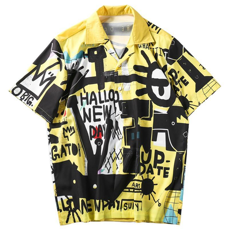 Januarysnow Hawaiian shirt dos homens Grafite Hip hop camiseta Streetwear Harajuku camisa da praia do verão camiseta casual tops de manga curta Hipster