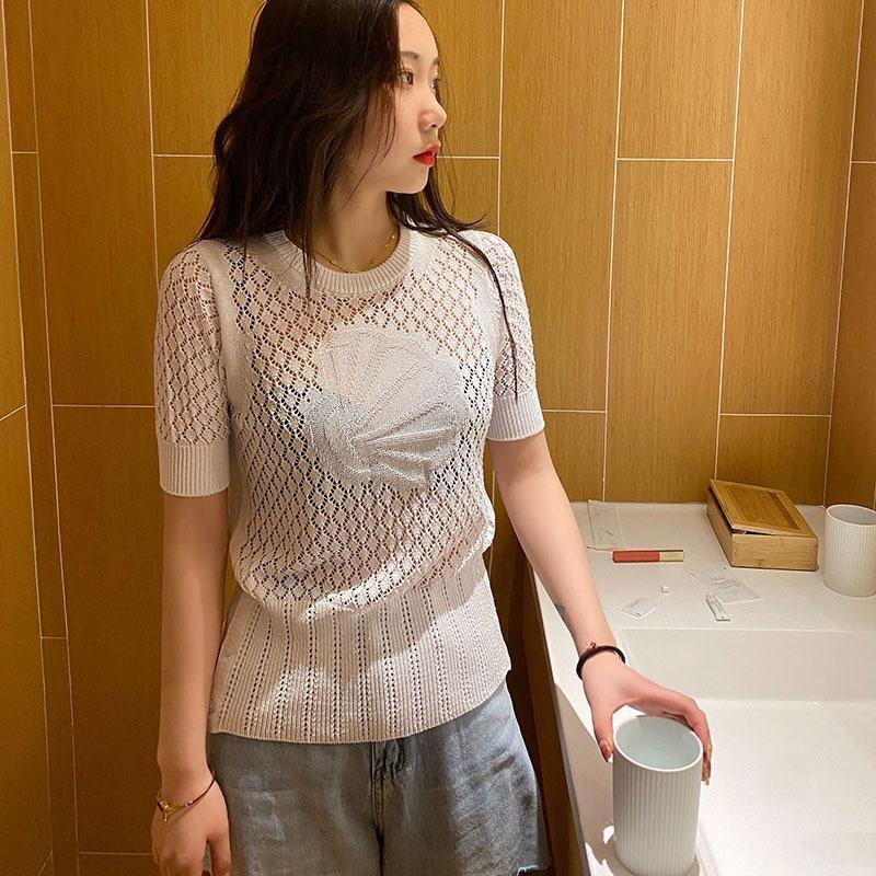 2020 Printemps / Été Nouvelle TB modèle complet du corps creux coquille Saint-Jacques sur slim femmes t-shirt pull est tricoté pull linge de glace à manches courtes T