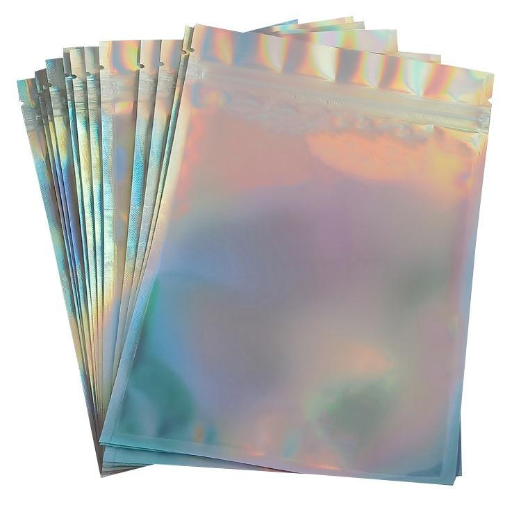laser color Plastic bag Mylar Aluminum Foil Zipper Bag One side clear Back plastic packing bag Retail Package Jewelry food