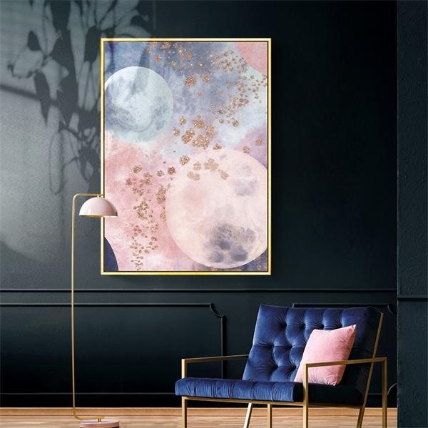 Erecamail 5D DIY Diamond Painting Full Diamond Bordado Nordic Pink Resumen Planet Princess Dormitorio Pintura Sin marco 0922