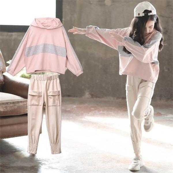 Conjuntos de ropa de niñas Conjunto de ropa para niños Otoño Sudadera con capucha Sudadera con capucha + Pantalones Kids Sport Trajes adolescentes 6 8 9 10 12 años 0926