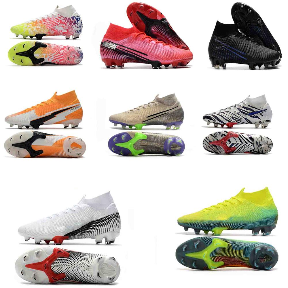 New waterproof Football Cleats High Mercurial Superfly 7 360 Elite NJR ACC Soccer Shoes Mens Original Outdoor Socks Football Boots 39-46