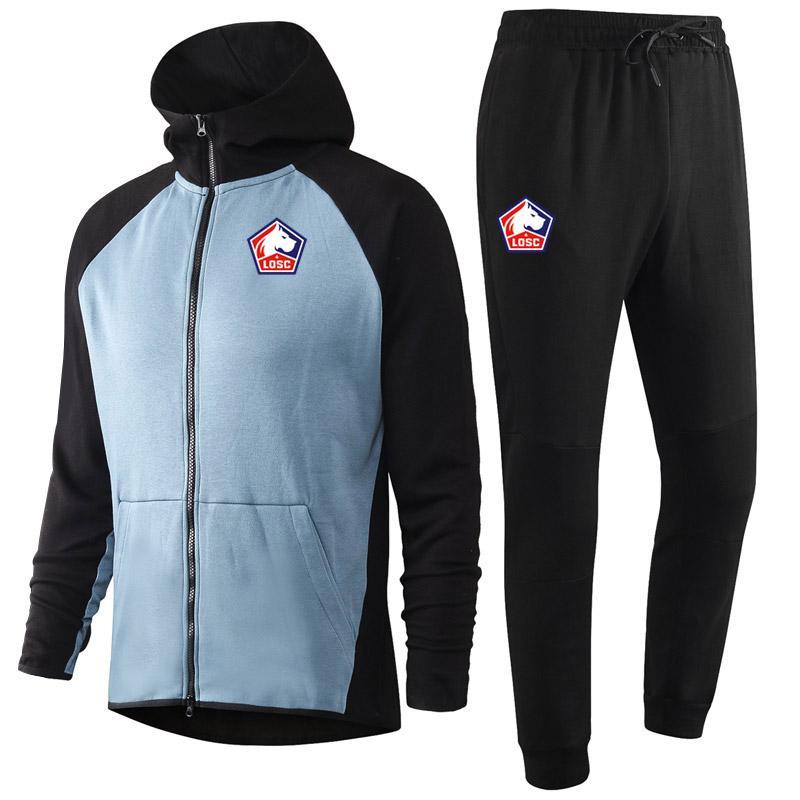 2020 2021 Lille OSC yetişkin Futbol Eğitim Tracksuits kitleri Kapşonlu futbol Eğitim Suit Survetement Maillots De Ayak Erkekler eşofman ayarlar