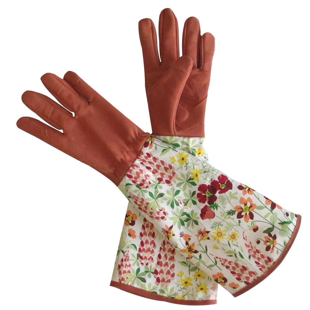 Long Sleeve Soft Rose Pruning Puncture Resistant Gardening Gloves Protective //