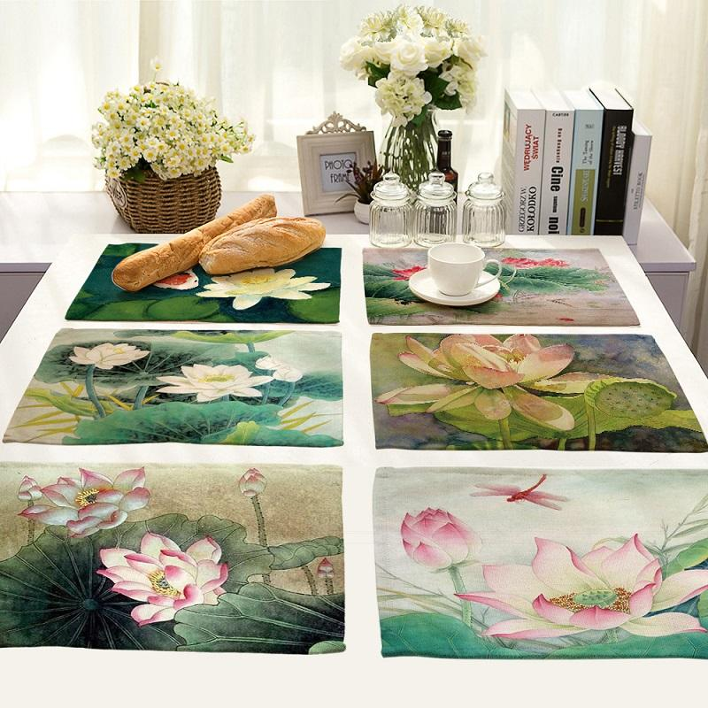 Pintura china Mandala de Lotus Vida 4 piezas Juego de mesa de la cocina Mats tabla del algodón de lino servilleta patrón decorativo Individuales
