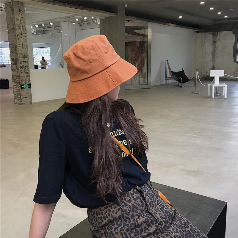 1F0tS Ding walk/ten thous years Classic solid color Eaves basin cap fisherman cap bucket bucket hatall-match fisherman hat spring and summer