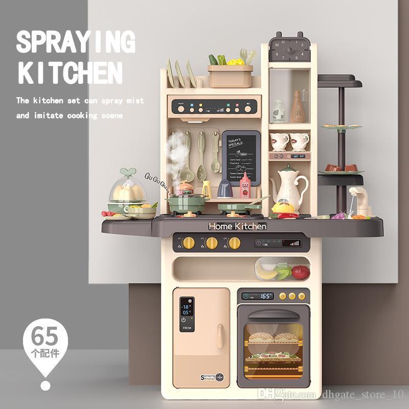 93cm rosa blau 65pcs Zubehör Musik Sprühwasser Küche zu Hause Kinder Pretend Play Simulation Kochen der Nahrung Spielzeug der Küche Spielzeug