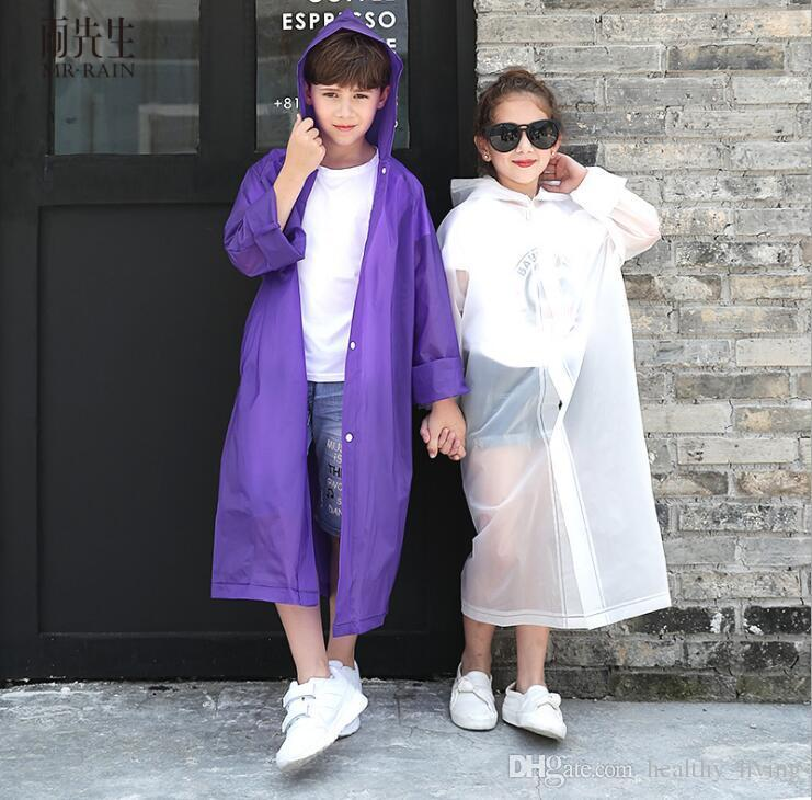 EVA Transparent Fashion Frosted Child Raincoat Girl And Boy Rainwear Outdoor Hiking Travel Rain Coat For Children 666