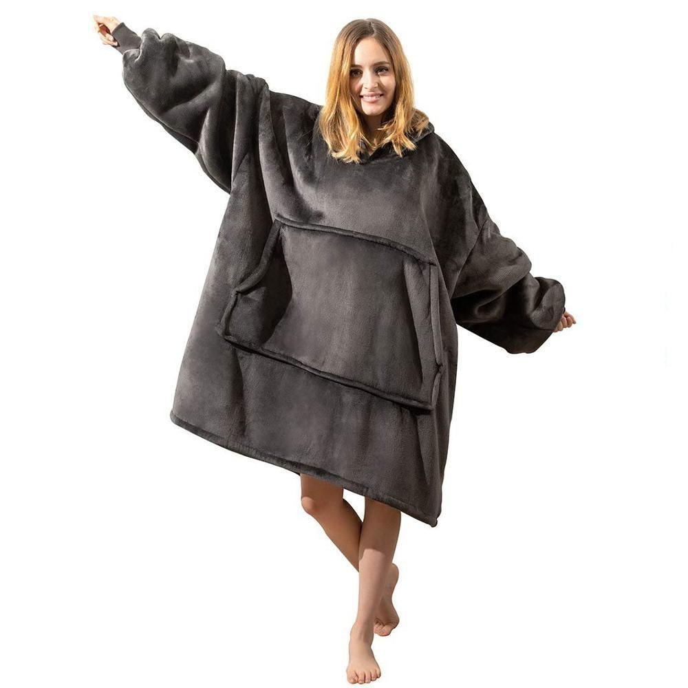 Inverno donne caldo oversize Coperta in pile con cappuccio Felpa con cappuccio Pocket coperta con maniche Sherpa Pullover Sudadera Mujer MX200812