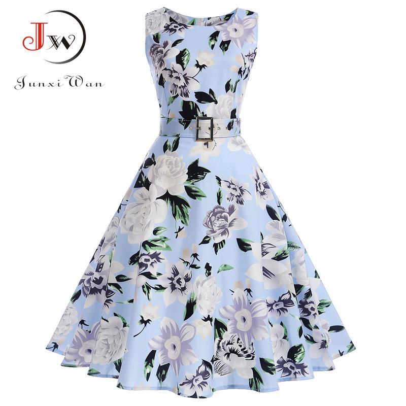 Floral del verano vestido de la vendimia Vestidos Imprimir vestidos de partido sin mangas elegante 50s 60s Rockabilly Pin atractivo vestirse con la correa MX200518