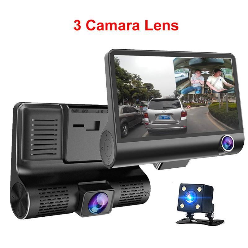 سيارة جديدة DVR 3 كاميرات عدسة 4.0 بوصة داش كاميرا مزدوجة العدسة مع الرؤية الخلفية كاميرا فيديو ومسجلات السيارات Registrator مسجلات الفيديو الرقمية كاميرا داش
