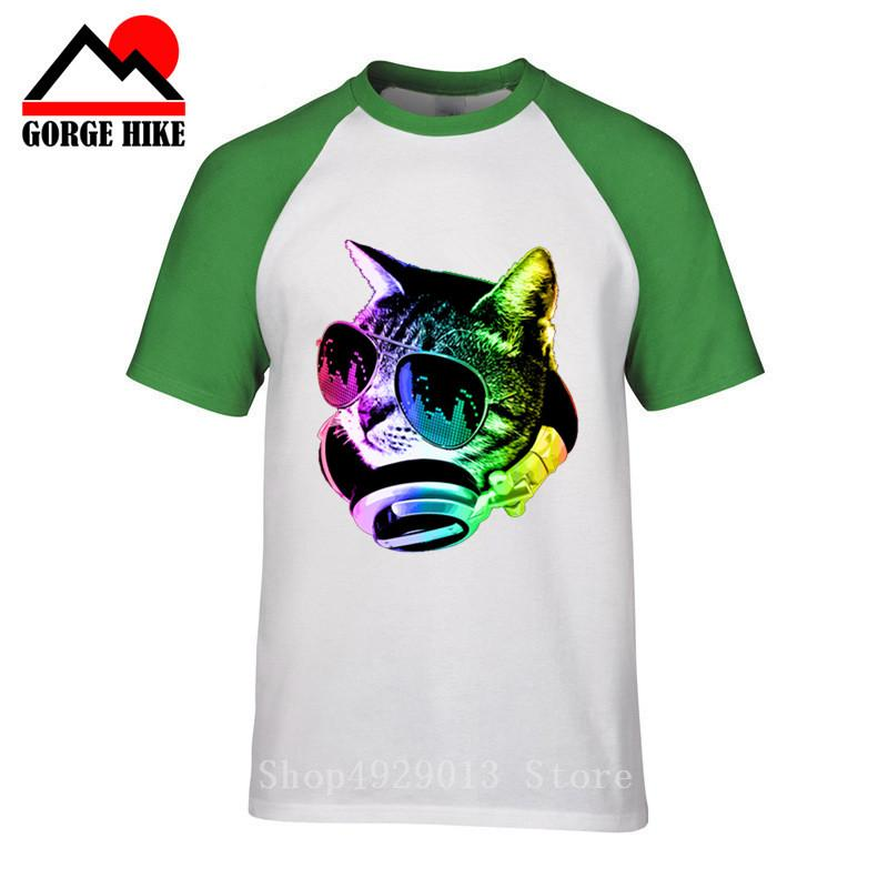 Fantast Sommer-Männer-T-Shirts beiläufige Kurzarm Baumwolle Hip-Hop-T-Shirt homme Musik DJ Katze gedruckt Lustige 3D-T-Shirt Männer-T-Shirts