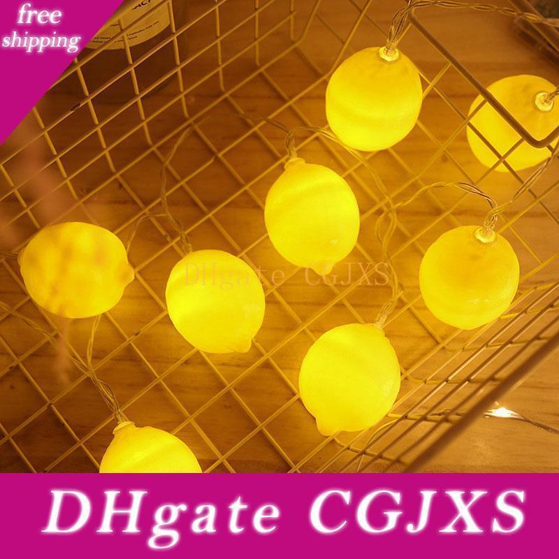 Brelong Led Citron Lumière Chaîne de vacances Décoration Petit réseau Red Lantern Ins Guirlandes Mise en magasin Flashing Light Batter