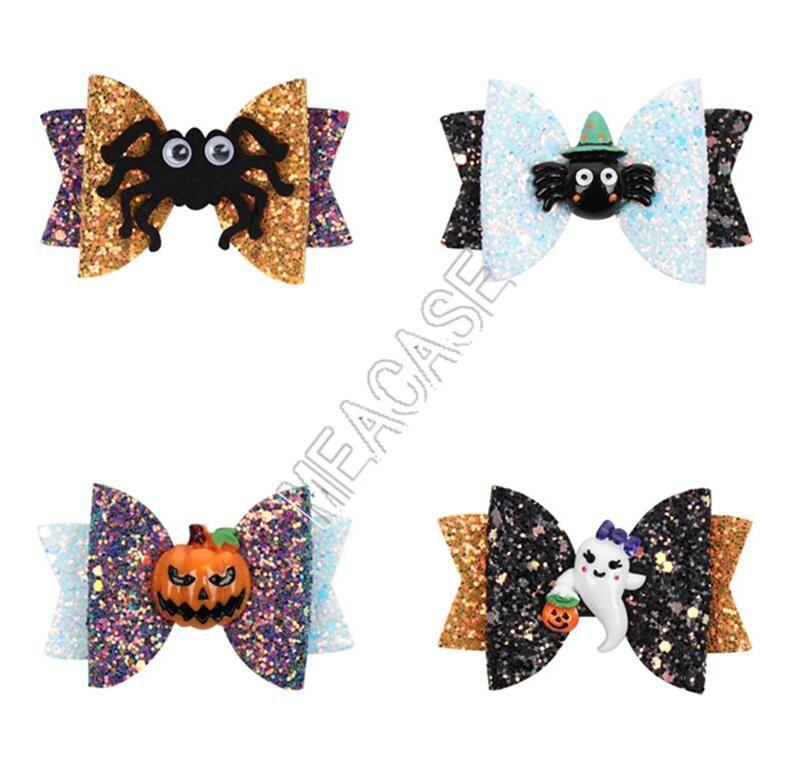 2020 3inch Halloween-Kinder Hairpin Lustige Requisiten Bögen Spangen Cartoon-Kürbis-Funkeln-Puder Kinder Hairpin-Haar-Zusätze 4 Farbe D82002