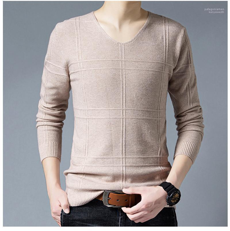 Neck Pullover Langarm Männer Pullover Schlank Warm Männer Bekleidung Panelled Herren Designer Pullover beiläufige V