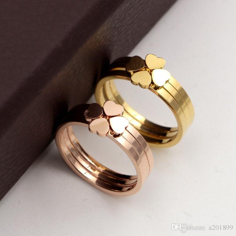 Trois en un mélange à quatre feuilles en titane acier trèfle plaqué rose bague en or pour les bijoux couple