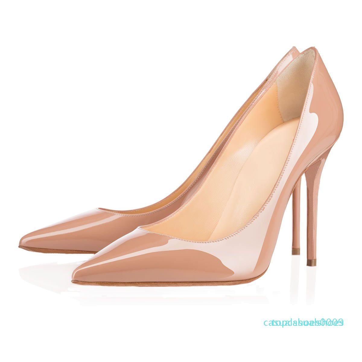 Poined Toe all'ingrosso pelle verniciata delle donne di pecora nero nudo Donne Pumps, Moda inferiori rosse scarpe dei tacchi alti per le donne in alto di nozze