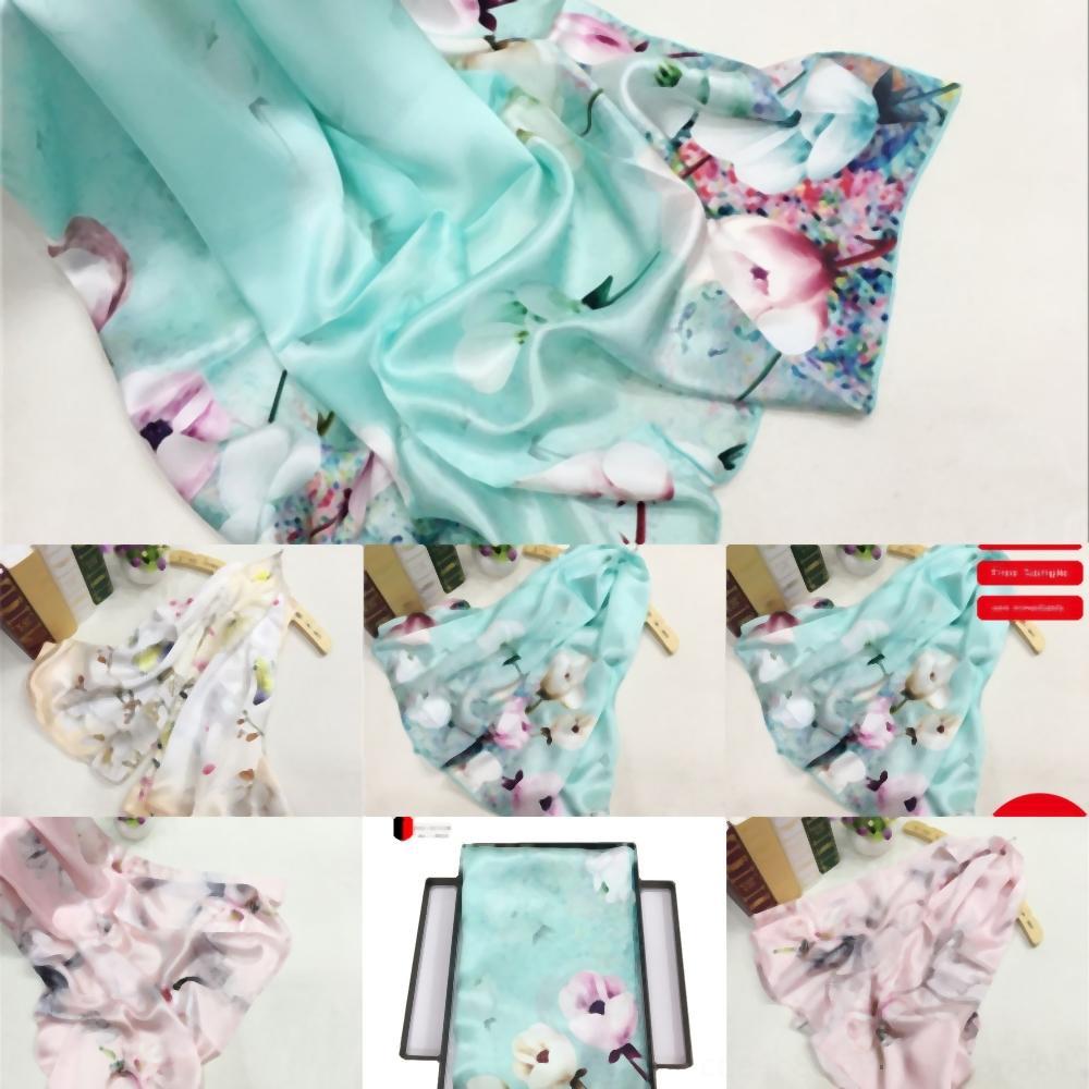 qualité qAYIu femmes style chinois écharpe fleurs design en soie florale Echarpes sans broderie Lettre mince femme Imprimer Taille Châles cm bo femmes