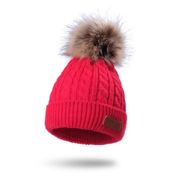 Personalizado color sólido fresco lindo estilo de la manera Pink muchachas de los bebés de los niños calientes del invierno paño grueso y suave de punto de lana de la gorrita tejida