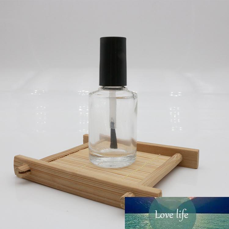 Frasco vazio Nail Polish Com Escova de Unhas recarregáveis Clear Glass Art polonês Storage Container Preto Lid