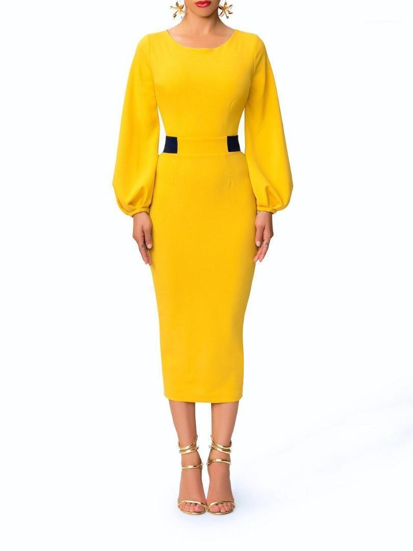 Farbe Jahrgang Kleider Mode Rundhalsausschnitt Damen Panelled Spalt Kleider Designer-Laterne-Hülsen-Kleid-Frauen-elegante Bonbon