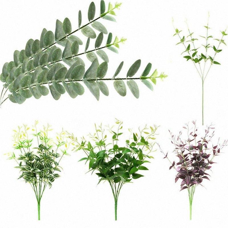 Ramos New Clematis eucalipto sae da planta de plástico verde Vinha Folhagem Casamento Casa Elegent Decor Jardim Bela Decoração k9xT #