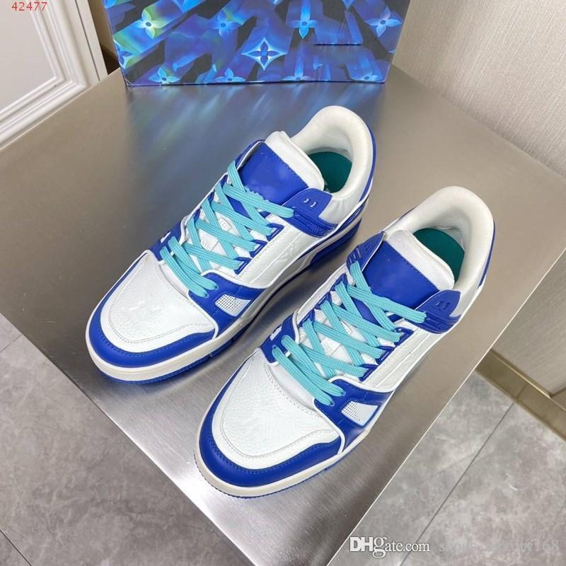 2020 nuevos zapatos de deportes de la manera ocasional de los hombres azules y amarillas blancas de cuero del diseñador Marca hombres zapatos casuales Orange