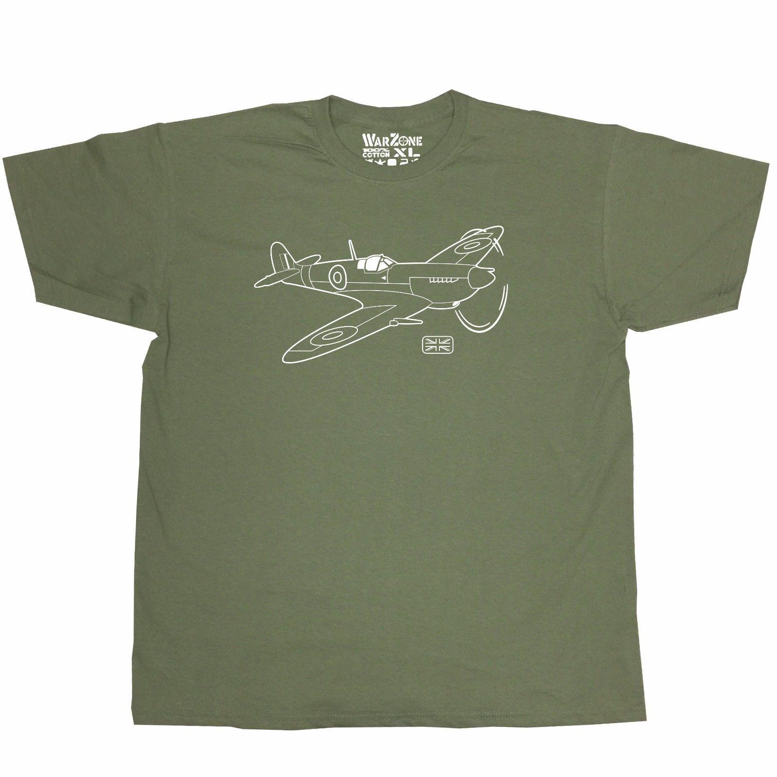 Homens Moda camiseta frete grátis Supermarine Spitfire Warzone Camiseta Raf Segunda Guerra Mundial 2 T-shirt Plano Verão