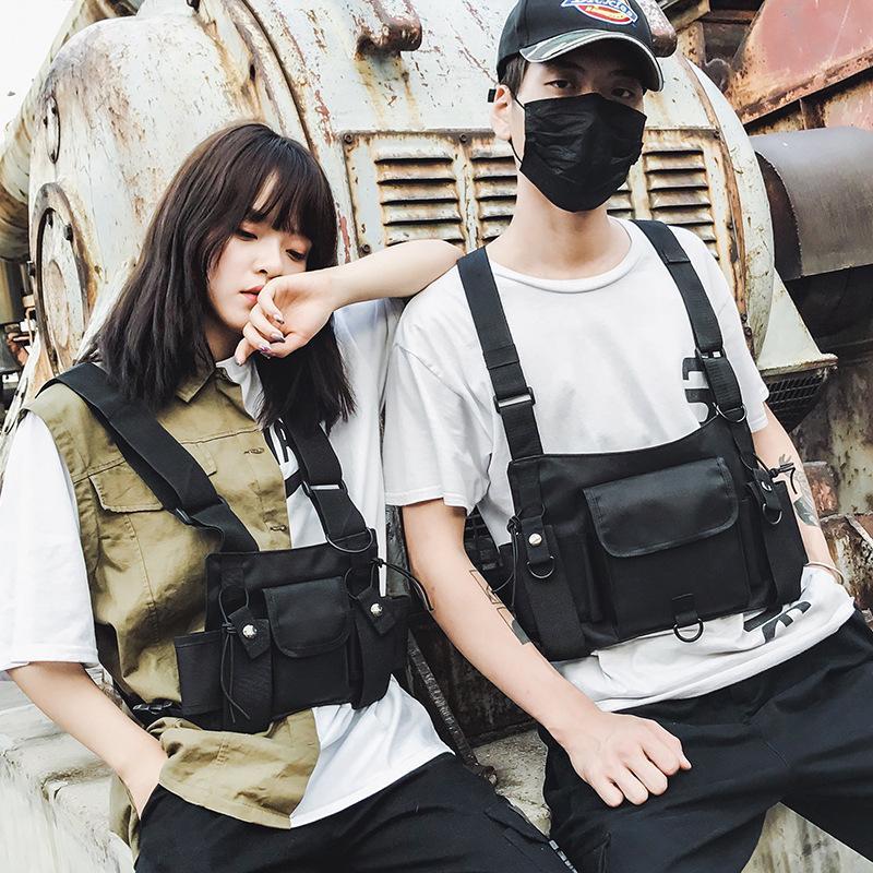 Funktionelle Tactical Kasten-Beutel für Männer Fashion Hip Hop Vest Street Bag Hüfttasche Frauen Schwarz Chest Rig