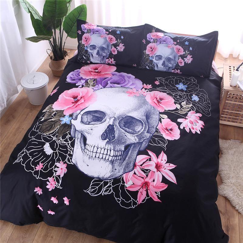 Double 2 3pcs Set No Bones Bed Linen Duvet Bedclothes And Filling Bedding Single Cover Skull Series King Setsno Sheet Queen pnVJe