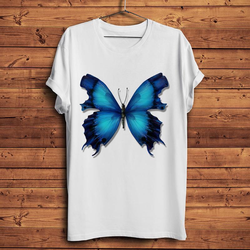 Natural Estilo camisa curto da luva t homens borboleta azul impresso tshirt homme verão branco casual tshirt unisex streetwear