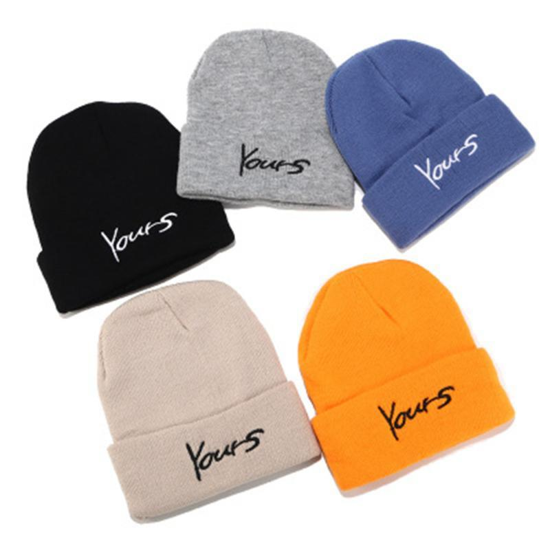 Winter Knitted Yours Letter Skullcap Adult Casual Hip Hop Hat Women Men Acrylic Beanie Cap Unisex Keep Warm Elastic Hats 6 Color