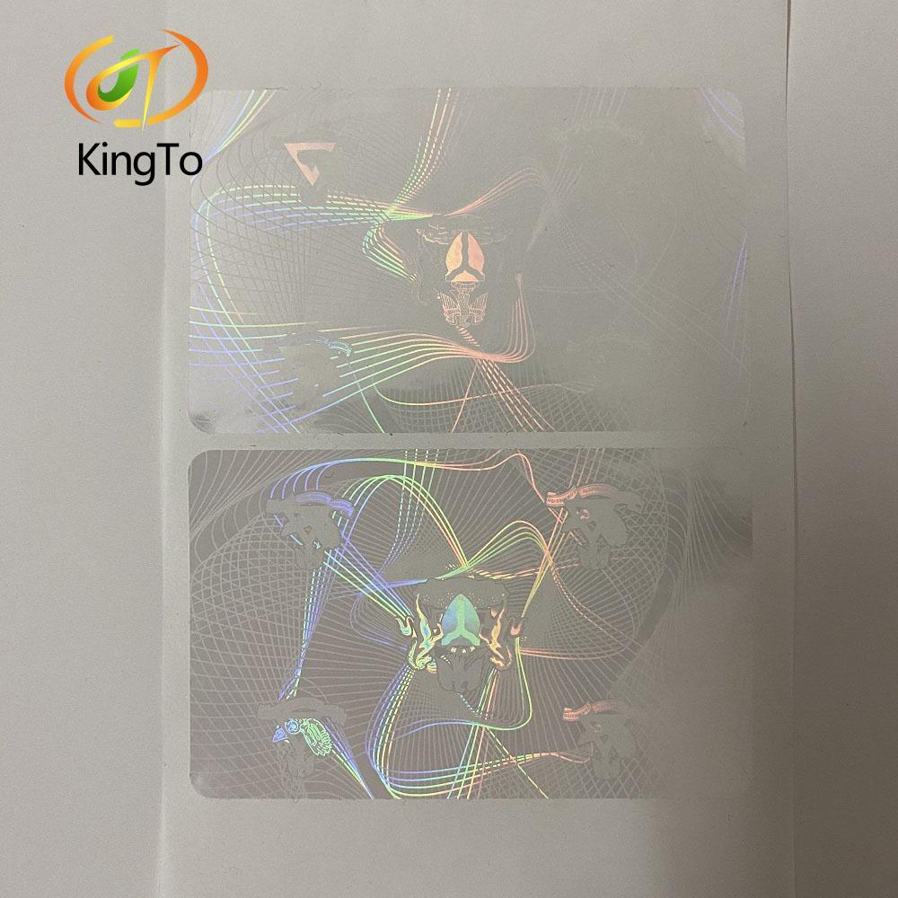 86 * 54mm transparente claro adhesivo personalizado holograma de superposición para el parachoques para tarjetas de identificación