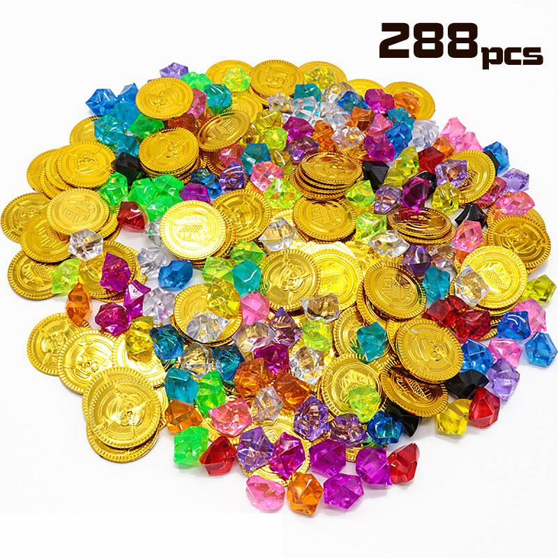 Лучший Дети пират Золотая монета Gemstone серии игрушки активность Draw реквизита Детские игры Реквизит Хэллоуин рождественские подарки