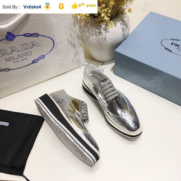 31721 sponge cake platform shoes silver patent leather SNEAKERS Dress Shoes Skate Dance Ballerina Flats Loafers Espadrilles Wedges