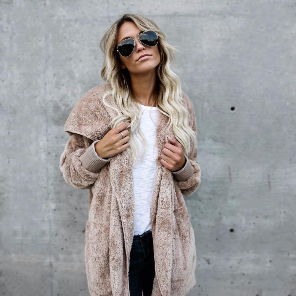 FJUN Fur Cardigans Women Long Sleeve Oversize Autumn Wool Casual Loose Coverup Tops Winter Coat Female Sweaters Plus Size S-3XL Y200827