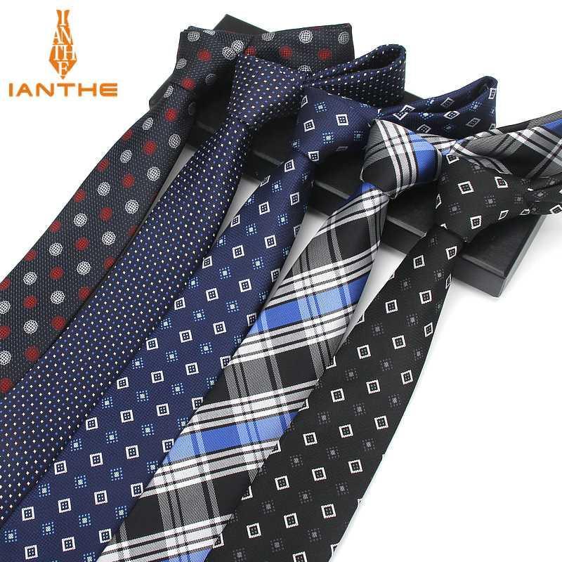 Plaid Skinny Ties Paisley 7CM degli uomini di fabbrica per gli uomini di nozze Cravatta Slim lusso cravatta stilisti kravat Dot Neckwear